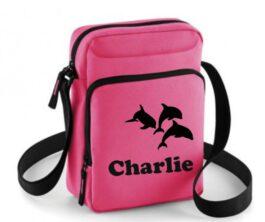 Mini body bag true pink met naam