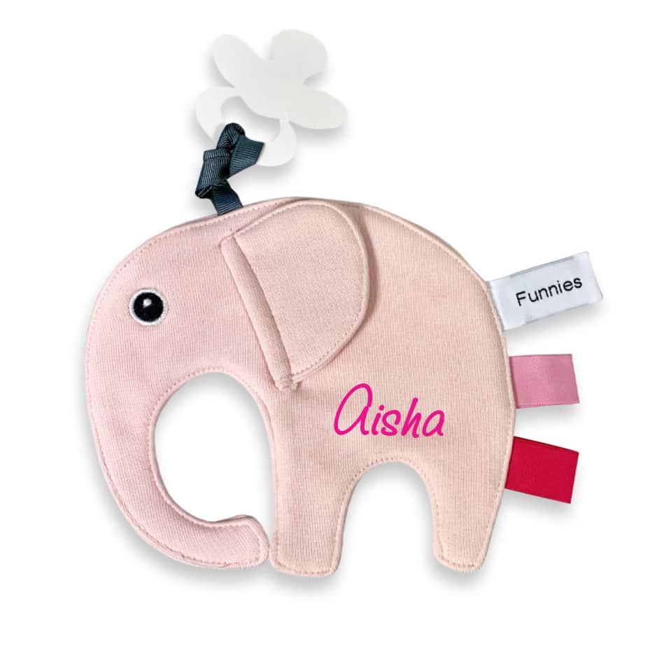 Knuffeldoekje Olifantje met naam Blush