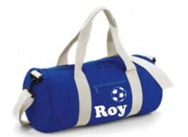 Barrel sporttas rond met naam (Royal blauw)