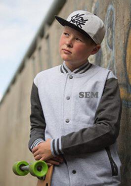 Baseball jasje met naam (grijs)