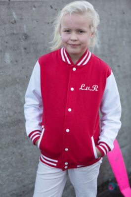Baseball jasje met naam (rood)