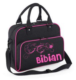 Kidz Dans / Ballet tas met naam (zwart/roze)