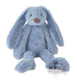 Rabbit Richie knuffel met naam Deep blue (Happy-Horse) Groot