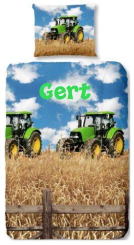 """Dekbedovertrek Tractor """"John Deere"""" met naam"""