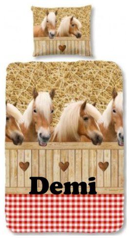 Dekbedovertrek Paard ruit met naam