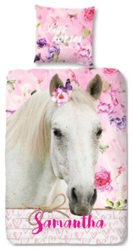 Dekbedovertrek Good Morning paard (Rose) met naam