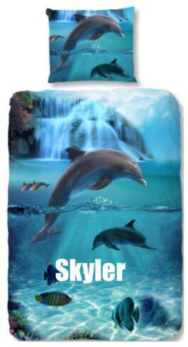 Dekbedovertrek Good Morning Dolfijnen met naam