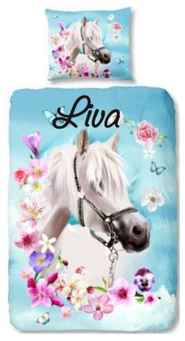 Dekbedovertrek Good Morning paard (Blauw) met naam