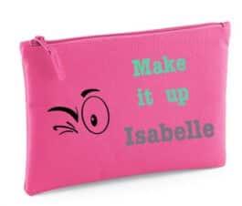 Make-up tasje met naam (Roze)