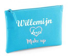 Make-up tasje met naam (Surf blue)