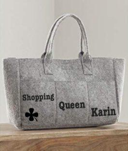 Pocket Vilten shopper – tas grijs