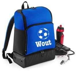 Sport voetbaltas met naam (Royal-blauw)