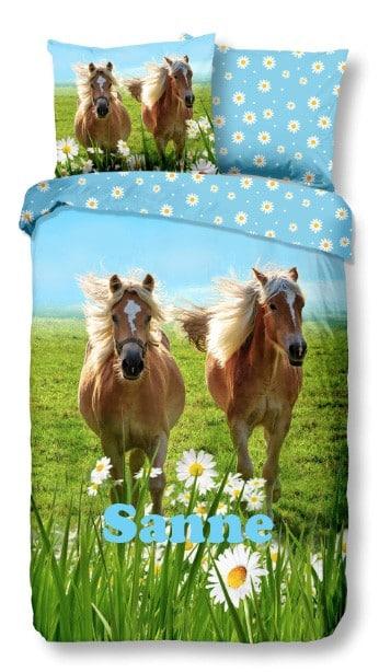 Dekbed Good Morning Paarden en Bloemen met naam
