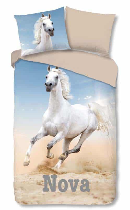 Dekbedovertrek Wit Paard met naam