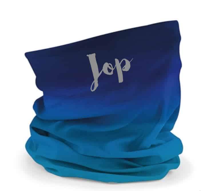 Buff sjaal met naam / bedrijfslogo (Blauw)