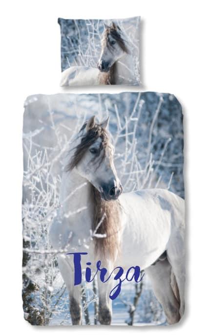 Dekbedovertrek Flanel Wit Paard in Sneeuw met naam