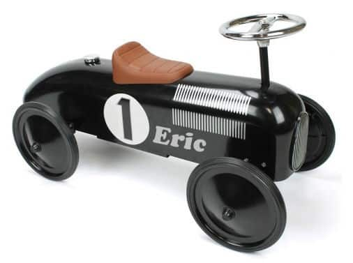 "Loopauto Zwart met naam ""Retro Rider"""
