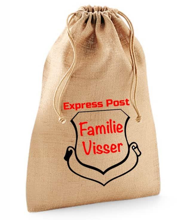 Jute zak met naam (Express Post)