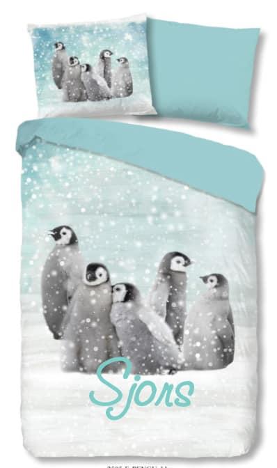 Dekbedovertrek Flanel Pinguins in Sneeuw met naam