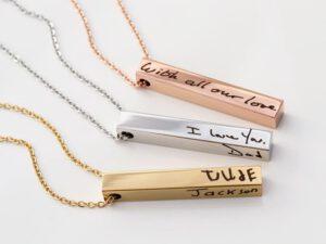 Handgeschreven tekst sieraad staafje ketting met naam goud - Zilver - roze