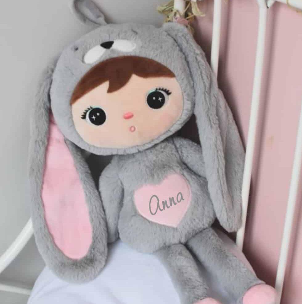 Pop Bunny Grijs Rose met naam