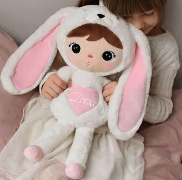 Pop Bunny Wit Rose met naam