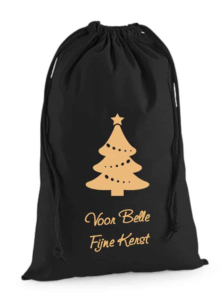 Kerstzak met naam zwart (Luxe)