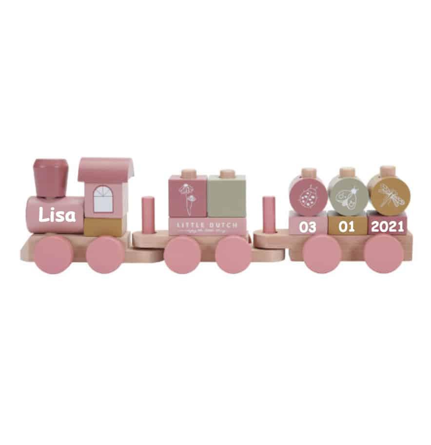 Little Dutch houten blokken trein met naam rose (NEW)