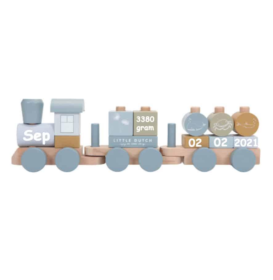 Little Dutch houten blokken trein met naam blauw (NEW)