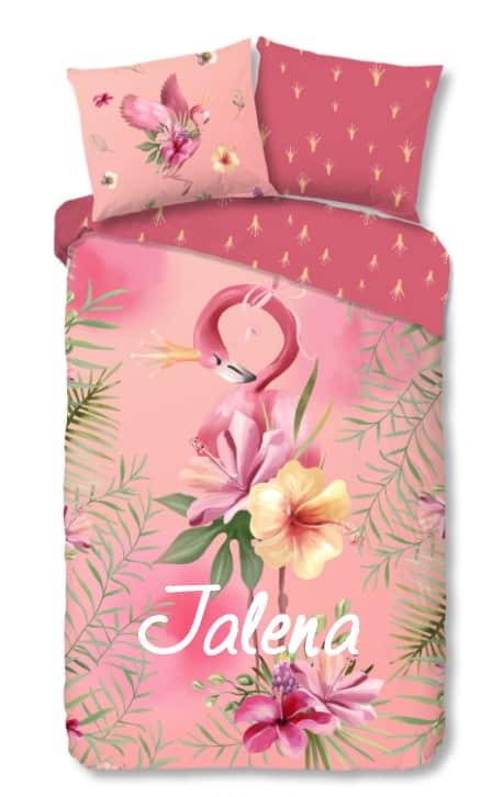 Dekbedovertrek Flamingo Queen Pink met naam
