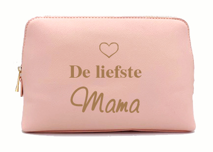 Beautycase Make-up / toilet tas met naam (Poederrose)