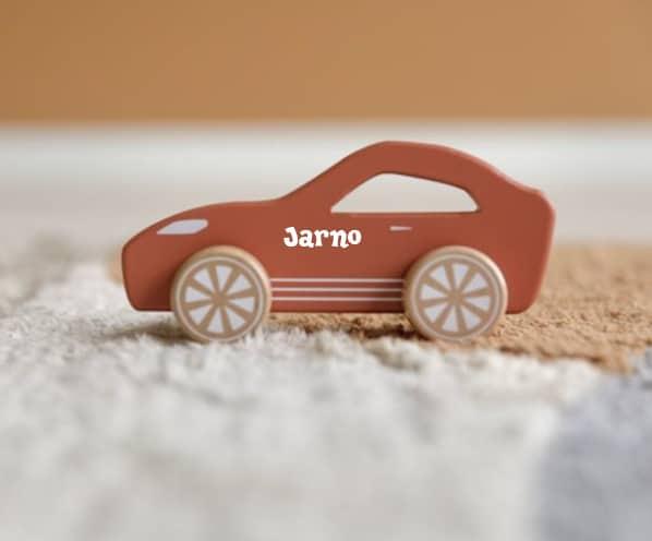 Little Dutch houten sportauto roest met naam