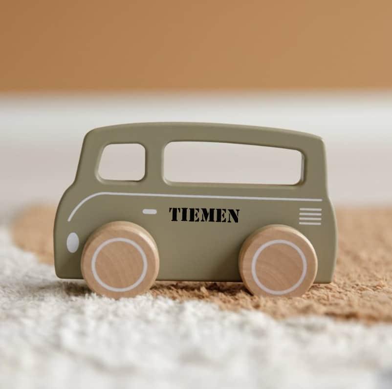 Little Dutch houten bus olijf met naam