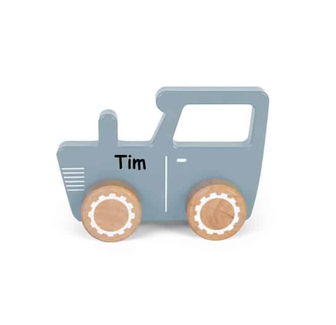 Little Dutch houten tractor blauw met naam