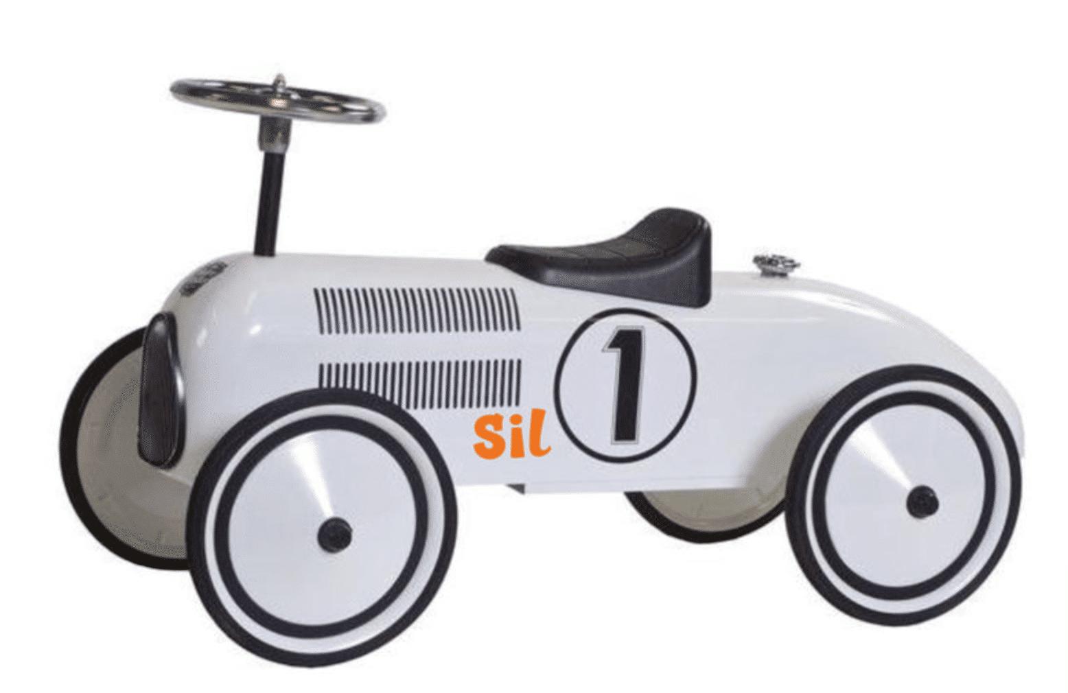 "Loopauto met naam Wit – Lewis ""Retro Rider"""